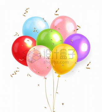 一捆蓝色粉色红色绿色黄色紫色气球和飘落的金色丝带png图片素材