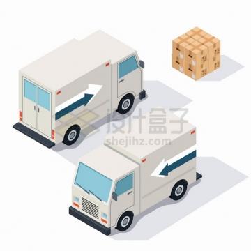 2.5D风格小型货车卡车前后视图和纸箱子货物png图片素材