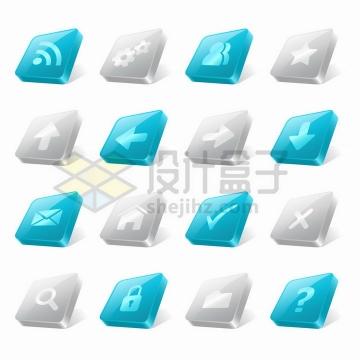 16款wifi齿轮联系人等符号立体按钮png图片免抠矢量素材