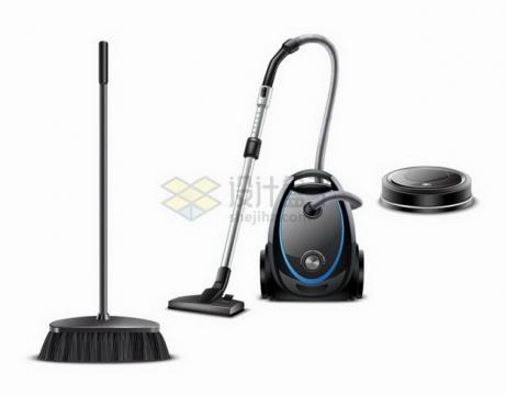 黑色扫帚吸尘器和扫地机器人png图片免抠矢量素材