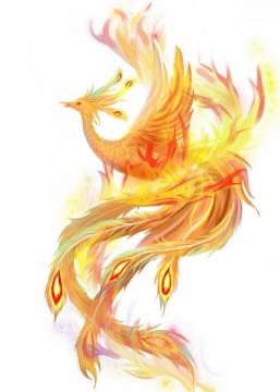 漂亮的金黄色火凤凰不死鸟png图片免抠素材