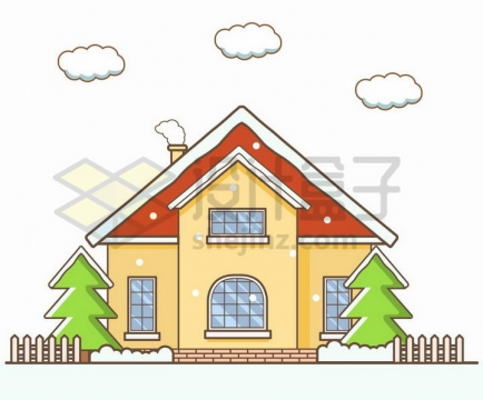 卡通覆盖了积雪的房子风景图png图片免抠矢量素材