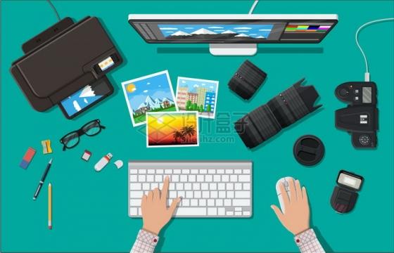 打印机iMac电脑数码相机镜头键盘鼠标等摄影师设计师装备png图片素材