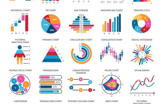 25款各种不同风格的PPT图表比例图等免抠矢量图片素材