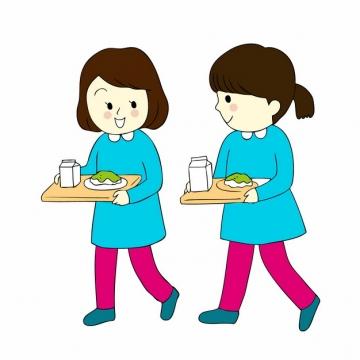 两个卡通学生端着营养早餐的餐盘png图片素材