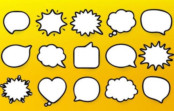 21款卡通线条对话框图片免抠素材