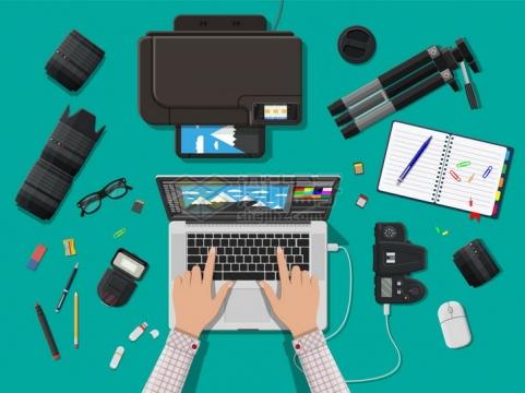 打印机数码相机镜头三脚架MacBook Pro笔记本电脑等摄影师设计师装备png图片素材