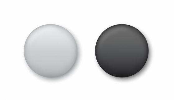 逼真的黑白色围棋棋子按钮png图片免抠矢量素材