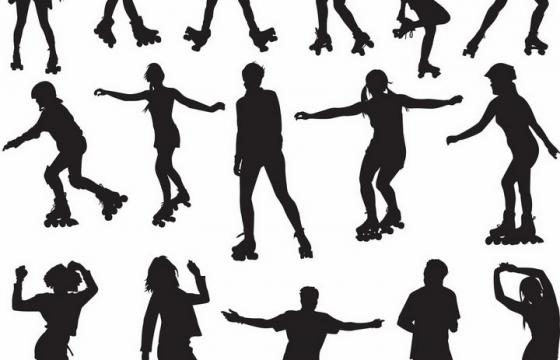 正在玩花式轮滑运动的年轻人青少年人物剪影png图片免抠矢量素材