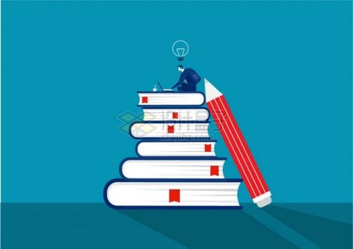 商务人士坐在高高的书本堆上世界读书日png图片素材