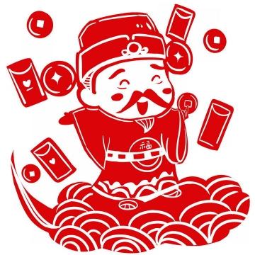 发红包的财神爷红色剪纸图片png免抠素材