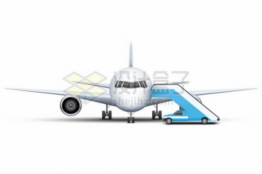 停机坪上的大型客机飞机正面图556806 png图片素材