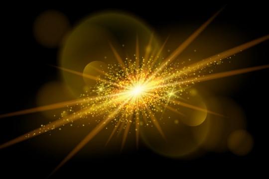 金色太阳光芒光线效果图片免抠矢量图素材