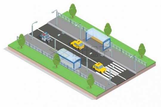2.5D风格公路和两侧的公交车候车亭以及绿化带png图片素材