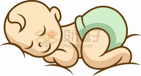 卡通婴儿宝宝趴着睡觉png图片免抠矢量素材
