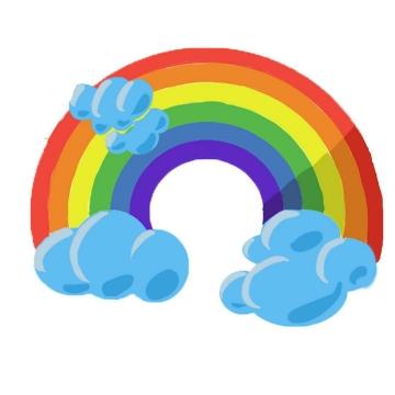 手绘卡通可爱风格蓝色云朵上面的七彩虹图案图片免抠素材