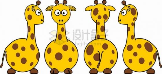 4个不同角度的长颈鹿简笔画儿童插画png图片素材