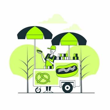 绿色扁平插画风格小吃摊摊主正在推销自己的美食产品png图片免抠矢量素材