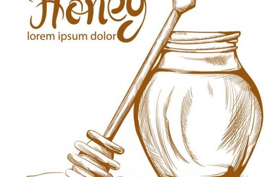 棕色线条手绘涂鸦风格蜂蜜罐和蜂蜜棒免抠矢量图片素材