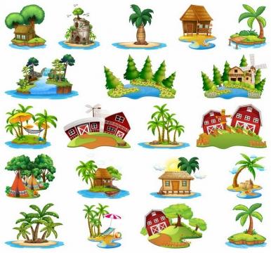 20款绿色热带海岛乡村旅游风景图png图片免抠矢量素材