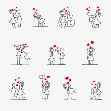 手绘线条卡通小人红心情侣情人节图片免抠矢量素材