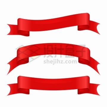 3款红色丝带飘带装饰png图片免抠矢量素材