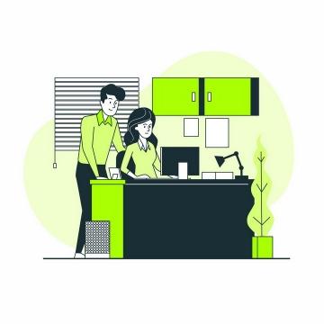 绿色扁平插画风格两个商务人士在电脑面前讨论问题png图片免抠矢量素材