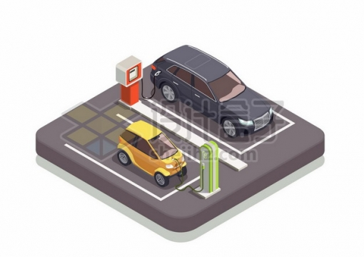2.5D风格加油站的汽油车和使用充电桩的电动汽车854226png图片素材