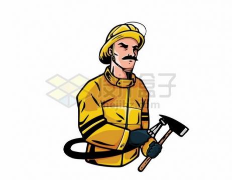 消防员拿着水管和斧子插画518219 png图片素材