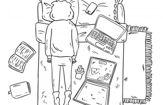线条手绘卡通在床上吃披萨趴着的女孩图片免抠素材