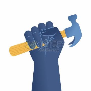 深蓝色的拳头和榔头劳动节png图片免抠矢量素材