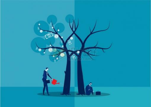 两个商务人士种植摇钱树一个成功一个失败象征了投资的风险投资理财插画png图片素材