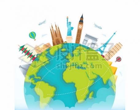 彩绘地球上世界知名建筑旅游景点全球旅行119211png图片素材
