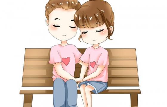 手绘卡通漫画风格坐在长椅上手牵手的情侣情人节图片免抠素材