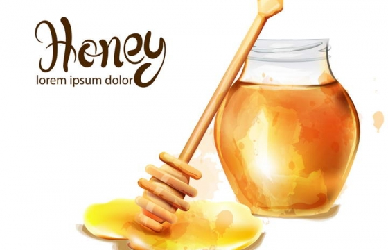 水彩画风格玻璃罐中的蜂蜜和蜂蜜棒免抠矢量图片素材