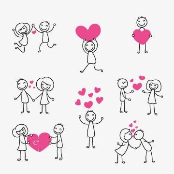 8款手绘线条卡通小人红心情侣爱情情人节图片免抠矢量素材