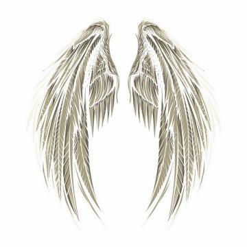 一对灰色天使的翅膀鸟翅膀png图片免抠矢量素材