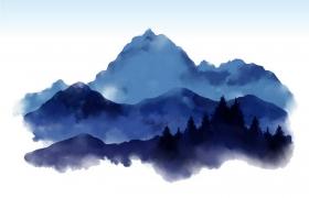彩色水彩画远处的大山山脉图片免抠素材