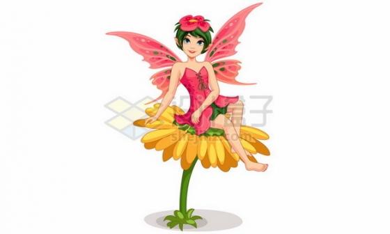 坐在花朵上的卡通花仙子小精灵324036 png图片素材