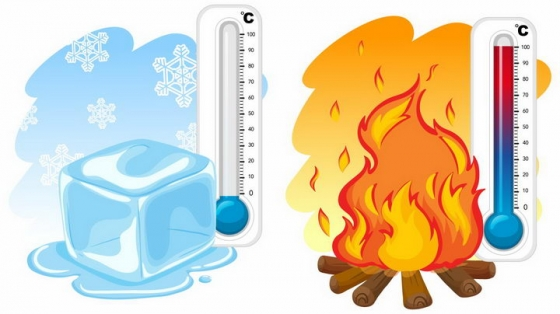冰块融化和篝火象征了低温和高温的两个温度计png图片免抠矢量素材