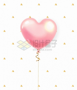 粉色心形气球和三角形装饰png图片素材