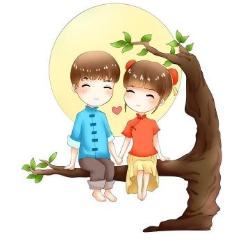 手绘卡通漫画中国风明月下面坐在树杈上的汉服情侣七夕情人节图片免抠素材