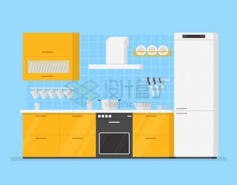 黄色的橱柜白色的电冰箱厨房装修扁平插画png图片素材