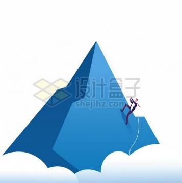 蓝色高山和攀爬登山的商务人士101366png图片素材