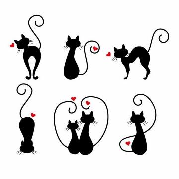 6款发出爱心的黑猫黑色猫咪情人节png图片免抠矢量素材
