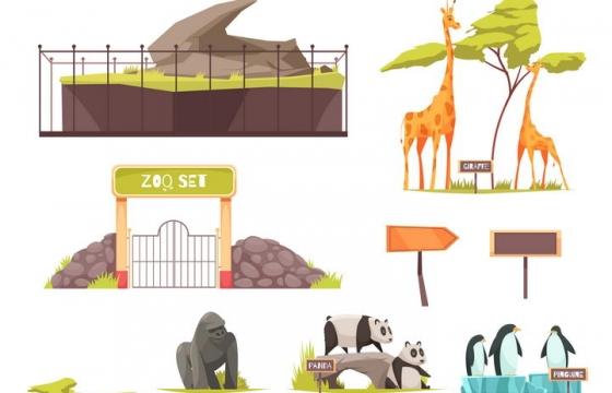 卡通风格野猪猴子狮子长颈鹿大猩猩熊猫大象斑马等动物园动物图片免抠矢量素材