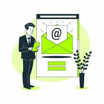 绿色扁平插画风格用平板电脑查看邮件的商务人士png图片免抠矢量素材