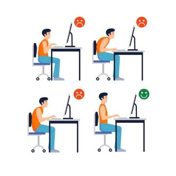 带表情用电脑的办公人员正确和错误坐姿对比图图片免抠素材