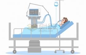 新型冠状病毒肺炎患者躺在病床上使用呼吸机png图片素材