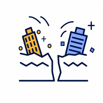 MBE风格地震常见灾害插画png图片素材644094
